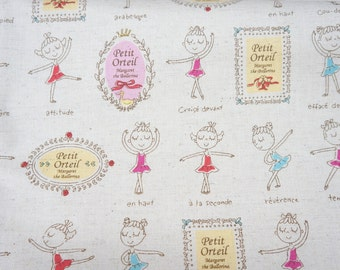 Japanese fabric Ballerina print Cotton linen  Half Meter 50 cm 106 cm or 19.6 by 42 inches nc44