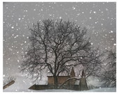 Winter Photography, white, tree, barn, snow, winter home decor, Snow Barn, nature fine art photography print
