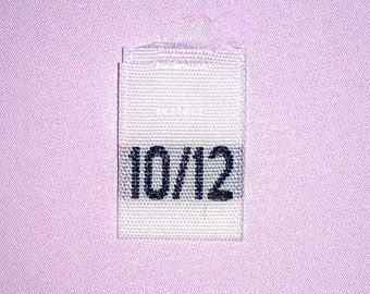 Size 10/12 (Ten-Twelve) Woven Clothing Size Tags (Package of 1000)