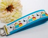 Snoopy Cupcakes Turquoise Wristlet Key Fob