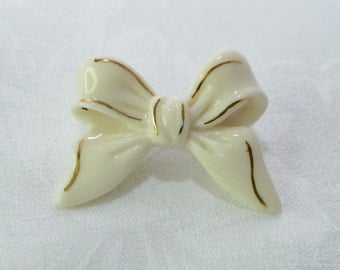 Vintage Lenox Bow Brooch Ivory Porcelain with 24k