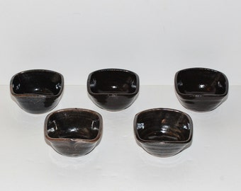 Japanese Mingei Pottery Tenmoku Stoneware Tea Bowls, Set of 5