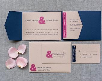 Modern Navy and Pink Ampersand Wedding Pocket Invitation | Miranda & Bethany