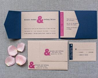 Modern Ampersand Wedding Invitation, Unique Invitation Pink, Navy and Kraft Pocket Invitation - Custom Colors - Miranda and Bethany