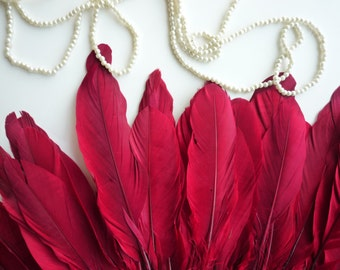 GOOSE FEATHER  , Flamenco Red, Apple Red  /  692