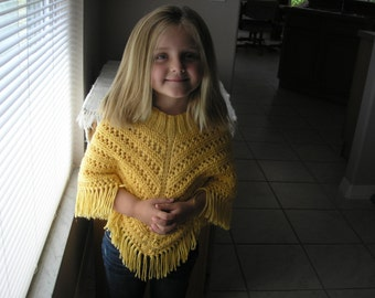Knitted Poncho, Girls Medium - Sunshine