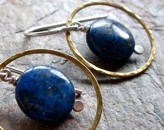 Lapis Lazuli Sterling Silver Brass Ring Earrings