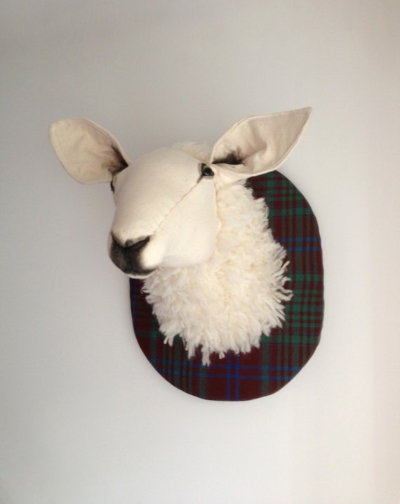 Sheep fibre sculpture, vegetarian taxidermy. Tartan lamb trophy, farmer's friend. Merino wool wall hanging