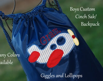 Boys girls personalized cinch sac backpack cinch sak with airplane