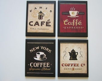 Coffee Shop Plaques 4pc country red  black beige, kitchen wall decor signs, Paris, Cafe. New York. plaque sign