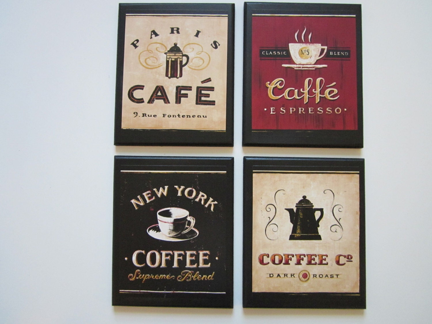 Coffee shop plaques 4pc country red black beige kitchen wall for Kitchen wall art sets