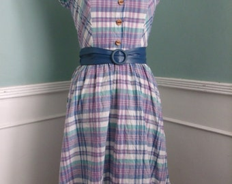 Vintage 80's Plaide Day Dress. Cap Sleeve. Buttons.