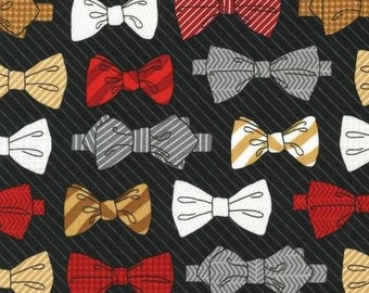 Dashing Bowties in Black for Fox and the Houndstooth Fabric by Andie Hanna for Robert Kaufman - 1 Yard