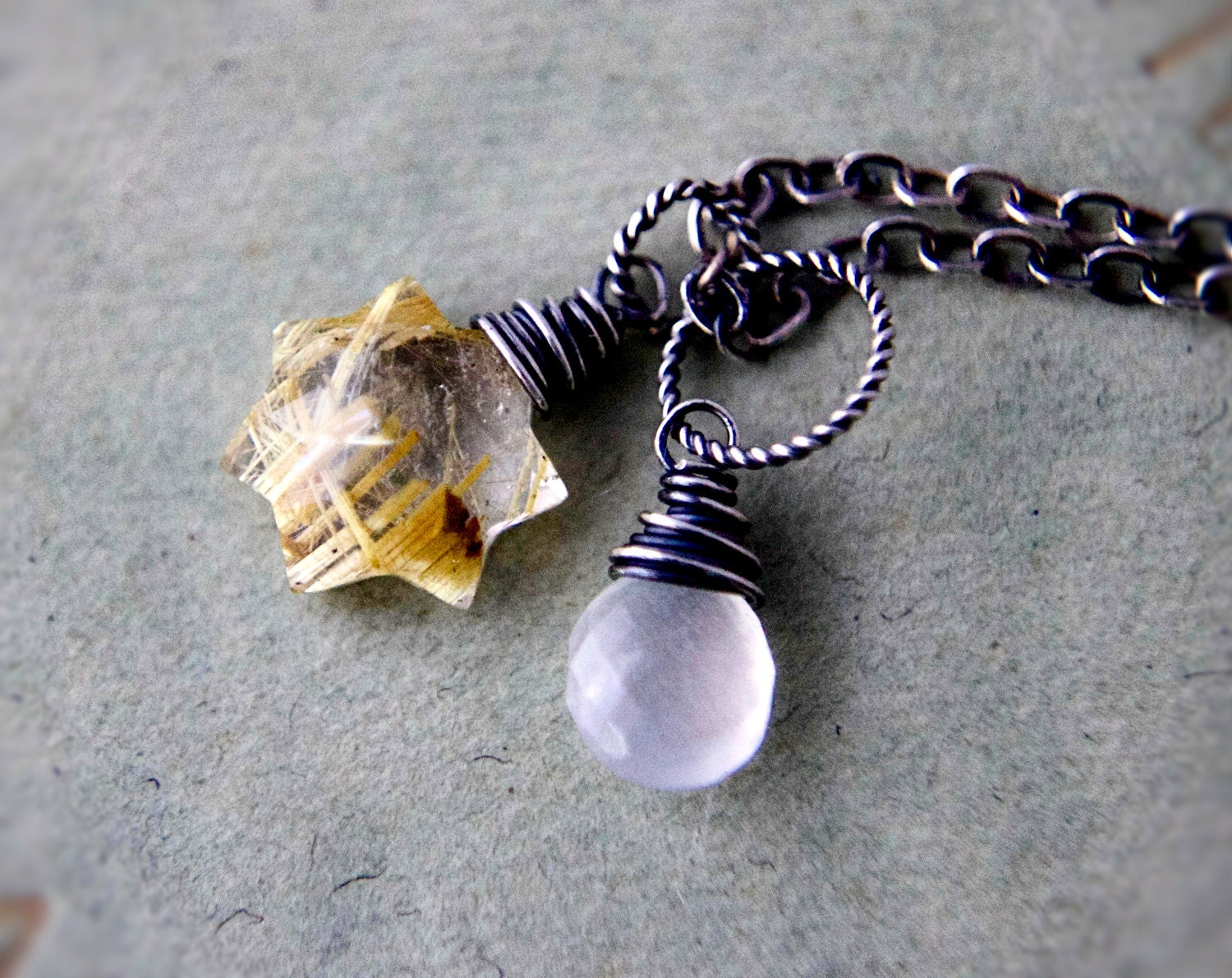 Sun And Moon Necklace Silver Rutilated Quartz Golden By