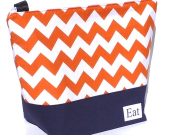 Insulated Large Lunch Bag Tote Zip Stylish Lunch Bag Adult Lunch Bag Orange Chevron by BonTons