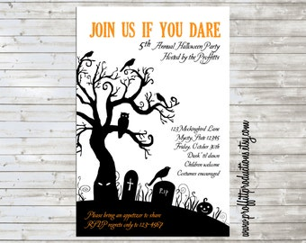 Haunted Graveyard custom Halloween party invitation, digital file