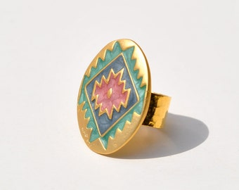 Statement ring tribal Southwestern style gold turquoise pink blue 24K gold adjustable band hand made