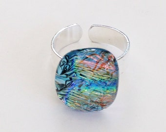 Colorful dichroic ring - sparkly blue green yellow red and orange on a black base -adjustable cuff ring band - dichro ring with blue, green