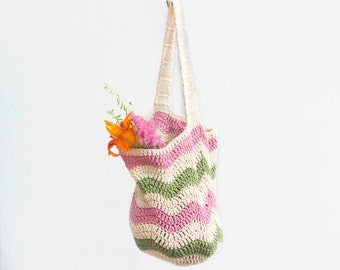 Market Tote Bag, Cotton Market Bag, Shopping Bag,  Chevron Tote Bag,  Crochet Book Bag,  Beach Bag, Pink, Green, Cream Stripes