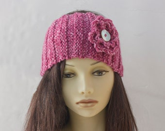 Dark Pink Knitted Headband, Buttoned Ear Warmers, Flower Head Band, Hand Knit Vegan Head Wrap, Made to Order
