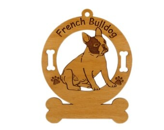 3202 French Bulldog Sitting Personalized Dog Ornament