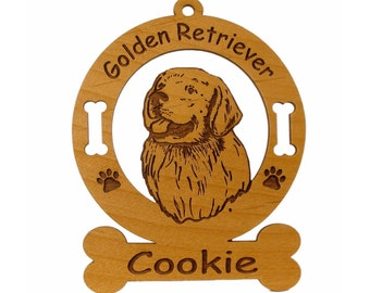 3257 Golden Retriever Head Personalized Dog Ornament