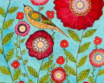 Flower Art - Flower Art Print - Red Flower and Bird Collage Painting, Mixed Media Art, Flower Collage Art - Floral Art - 40x50 cm Art Print