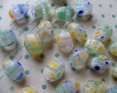 Vintage Japanese Early MILLIFIORI Glass BEADS - Green, Yellow, Blue Chunkies
