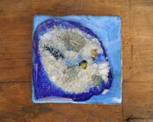 Moving Sale Pebble Tile in Blue-4X4 Art Tile Accent Tile Trivet Coaster Wall Hanging-Made to Order