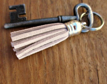 Mini Silver Keyring or Purse Charm with Suede Tassel Accent in Your Color Choice: Couture