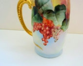 Antique Limoges style Current Berry Tankard with Gilt Dragon Handle ~ Artist Signed