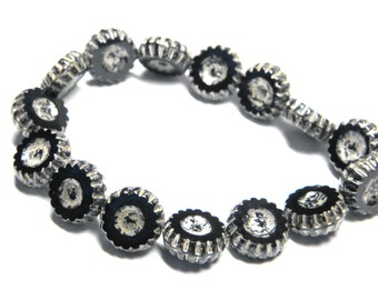 Sale! - Czech Glass Black Picasso Carved Coin Wheel Beads 13mm (15)