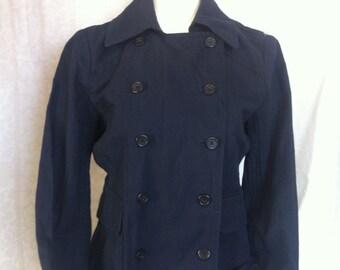 Vintage Jacket J Crew Womens Cotton Denim Jacket Size 8, Metallic Cottton Denim Womens Double Breasted Fall Jacket