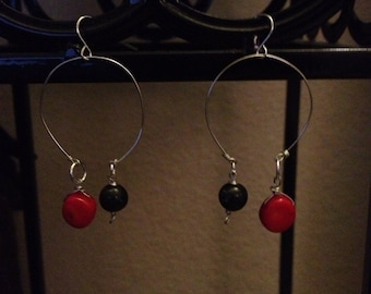Jasper and coral hoop earrings