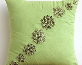 """Green Pillow Covers, 16""""x16"""" Faux Suede Pillows Covers For Couch, Square  Origami Flower Floral Theme Throw Pillows Cover - Green Sawaan"""