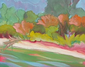 Willamette River 31 original abstract landscape oil painting