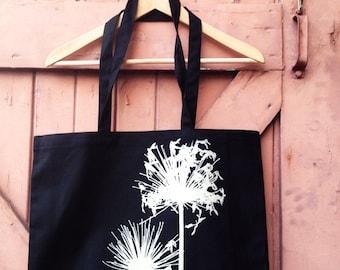 Agapanthus Organic Cotton Canvas Market Tote - Bone on Black