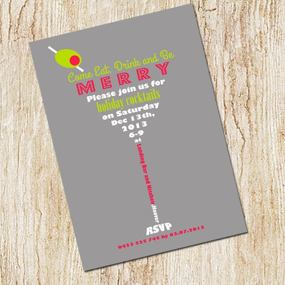 Martini Invitation - Holiday Cocktail Party Invitation - Christmas Party  -Digital File- Printable Invitation