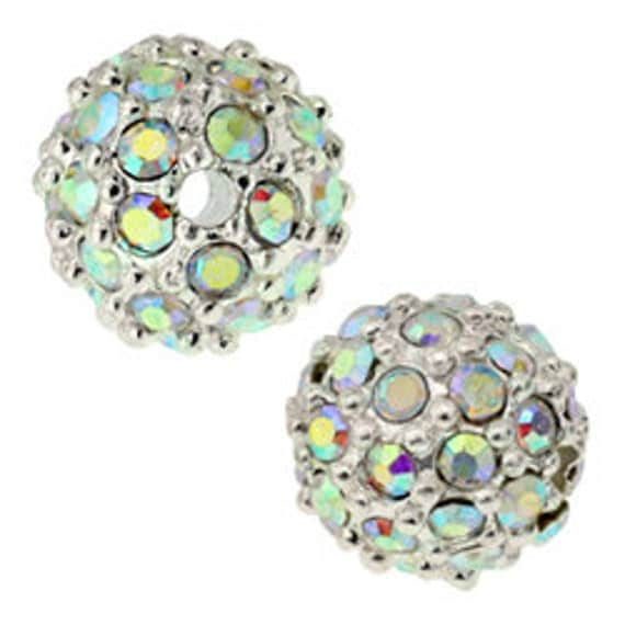 9 pcs 8mm pave beads, Silver with Crystal AB