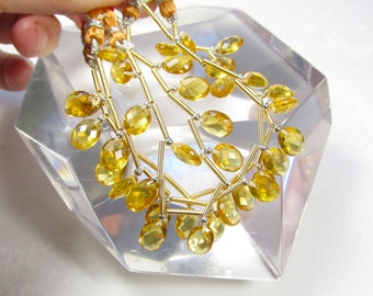 Double Checkerboard Oval Citrine Quartz  Briolette Beads 1/2 strand Perfect For Pairs