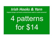 Buy any four crochet patterns and save - choose from Baby Ghillies - Donegal Cap - Soccer cleats - Figure Skates - ice Hockey Skates