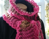 Knitted Scarf, Handmade, Pink Ruffly Scarf,  Long Crocheted Scarf, Super Warm Scarf, Unique Winter Wear, One of a Kind Scarf for Her