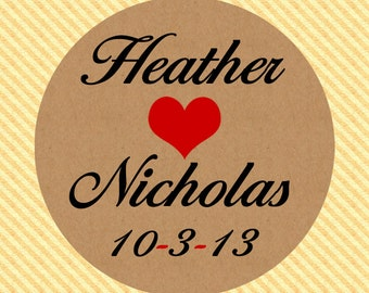 2 Inch Rustic Kraft Paper Mason Jar Labels / Stickers with Heart  Perfect for Wedding Favors and More