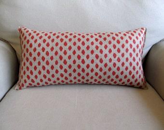 10x20 Coral Ikat accent/lumbar/bolster pillow