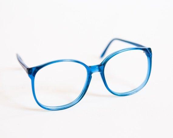 Glasses Frames Blue : Vintage Bright Blue Transparent Plastic Oversized Round