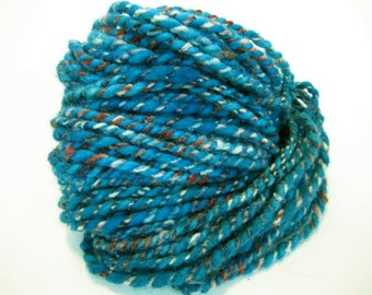 Red, White, and Aqua - Hand spun, mixed medium wools - 55 yards - Bulky - Two Ply