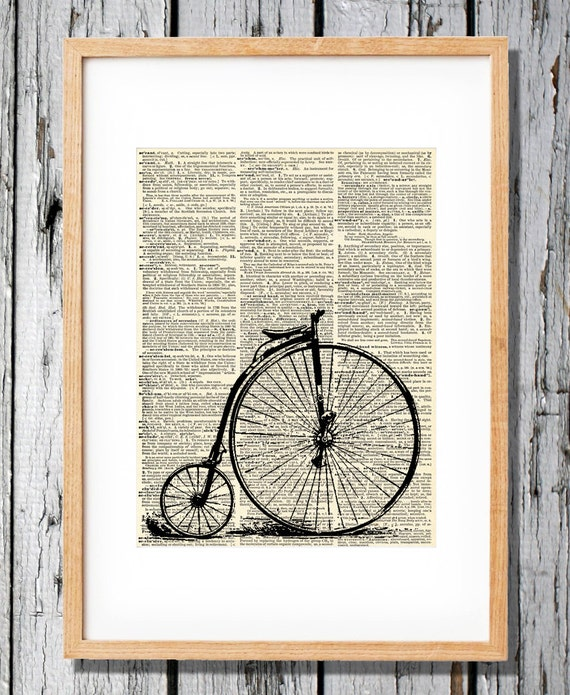 Penny Farther Bicycle Print - Art Print on Vintage Antique Dictionary Paper - Retro Farthing