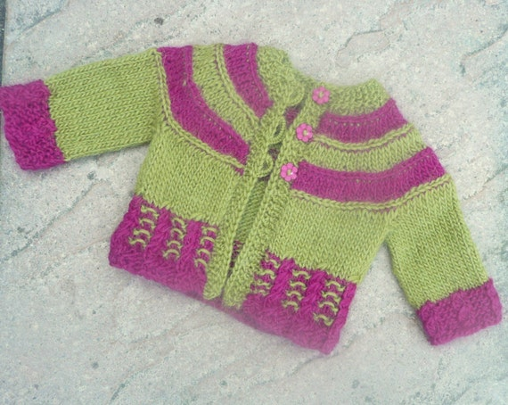 Baby Girl Knitted Sweater Pattern : Knitting PATTERN Seamless Top Down Baby Girl CARDIGAN by ceradka
