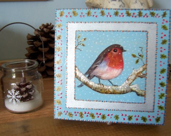 Robin ART ON A BOX. a unique hand painted  Keepsake / Jewelry box / Memory Box / Jewellery with a design of a Robin in the snow