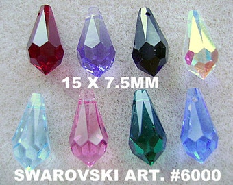 BEADS, SWAROVSKI, 15 x 7.5mm,VINTAGE, Briolette, Teardrop,10 Pieces, top drill, faceted, Color Choice, Goth, Austrian,